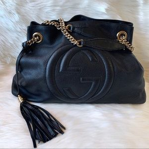Authentic Gucci Soho Hobo Chain Bag - Black